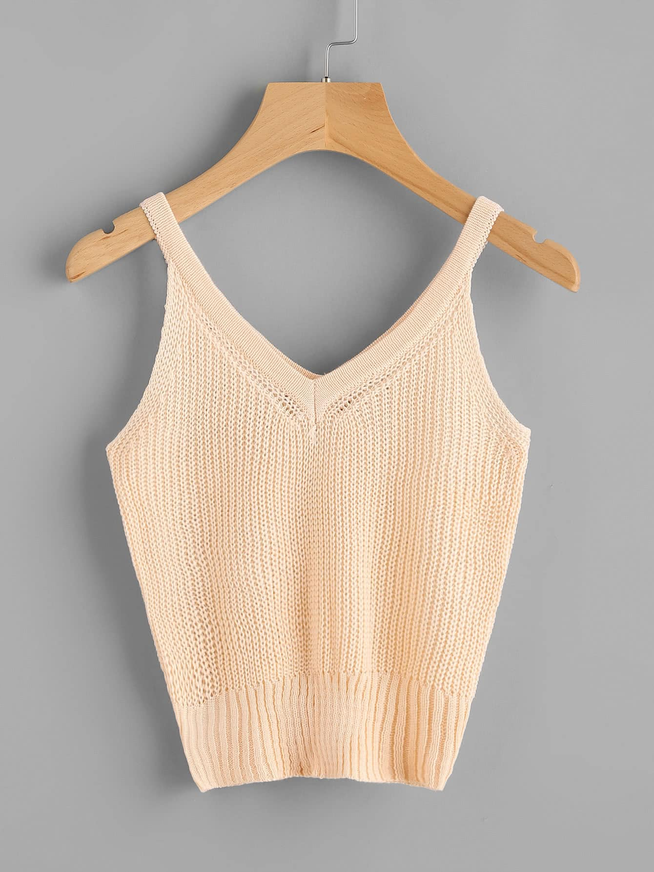 V Neckline Knit Top