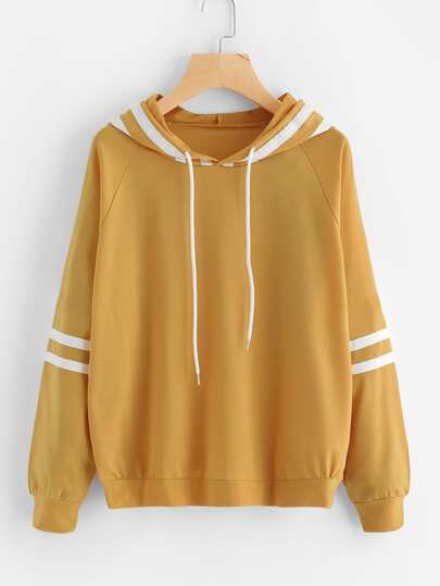 Contrast Striped Raglan Sleeve Hooded Sweatshirt