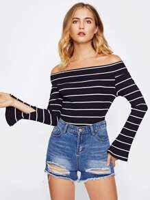 Foldover Off Shoulder Split Cuff Ribbed Tee