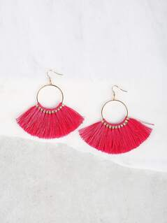 Multi Tassel Fish Hook Earrings PINK