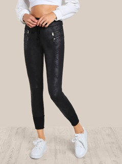 Faux Leather Joggers Pants BLACK