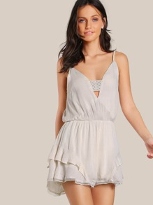 Front Cutout Romper NUDE