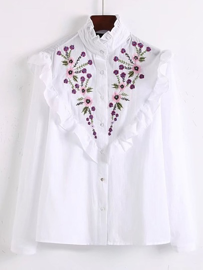 Flower Embroidery Frill Trim Blouse