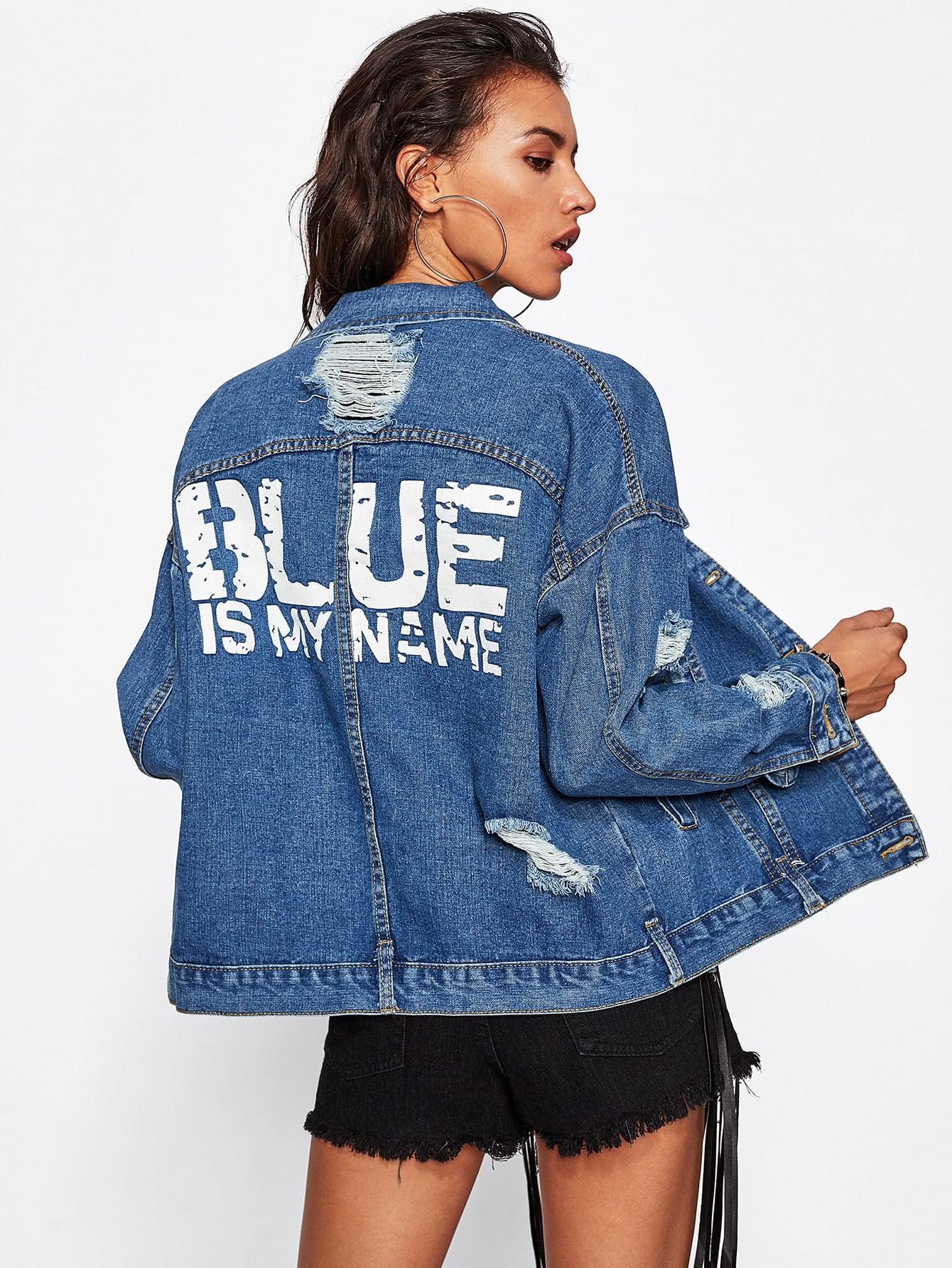 Купить Модная джинсовая куртка с разрезами, Camila, SheIn