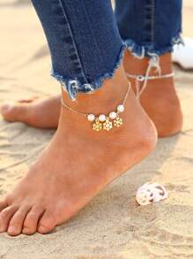 Faux Pearl & Snowflake Decorated Chain Anklet