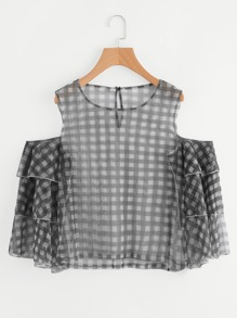 Gingham Print Open Shoulder Layered Bell Sleeve Top