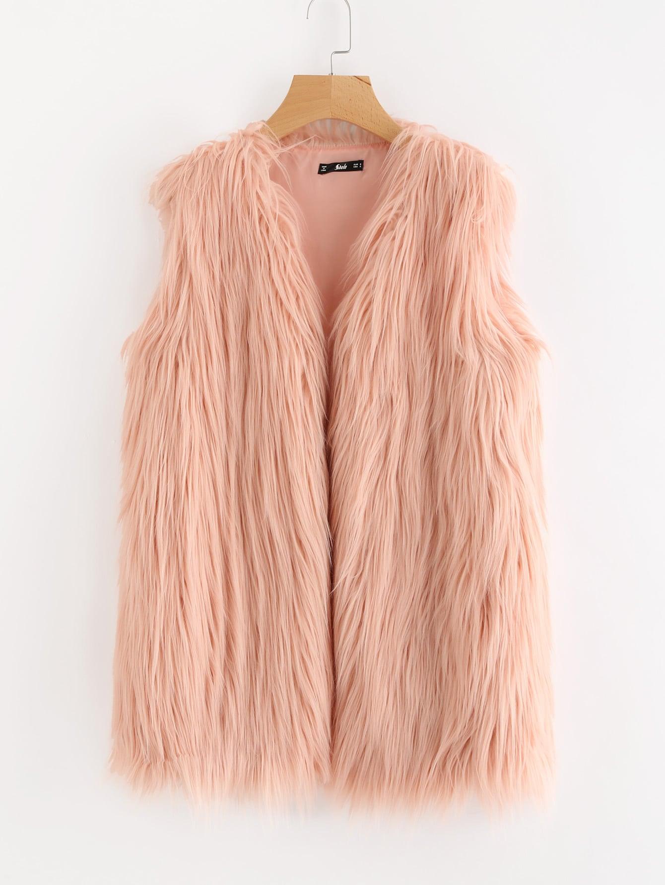 Faux Fur Open Front Vest grey fashion sleeveless artificial fur open front coat