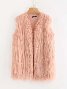 Faux Fur Open Front Vest