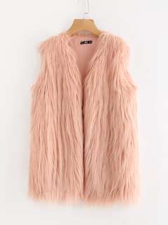 Faux Fur Open Front Vest