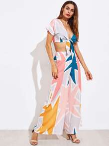 Random Print Knotted Top With Wide Leg Pants