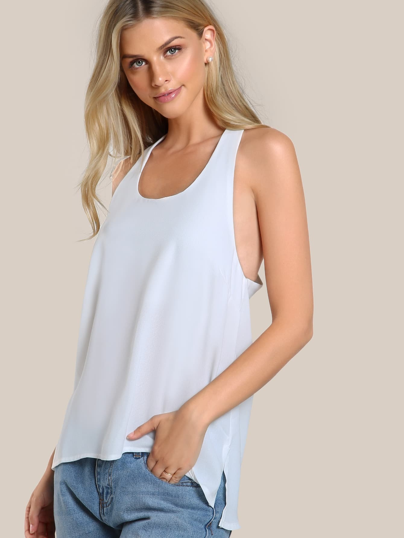 Back Keyhole Sleeveless Top WHITE