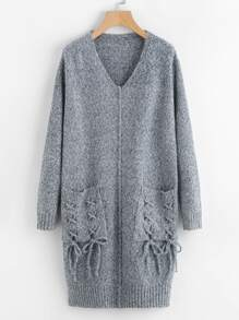 Robe Pull avec poche avant avec lacet