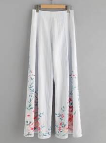 Flower And Stripe Print Fold Pleat Palazzo Pants