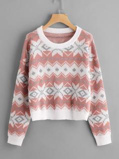 Drop Shoulder Geo Knit Sweater