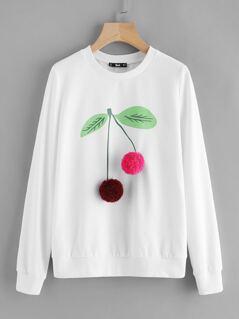 Pom Pom Cherry Sweatshirt