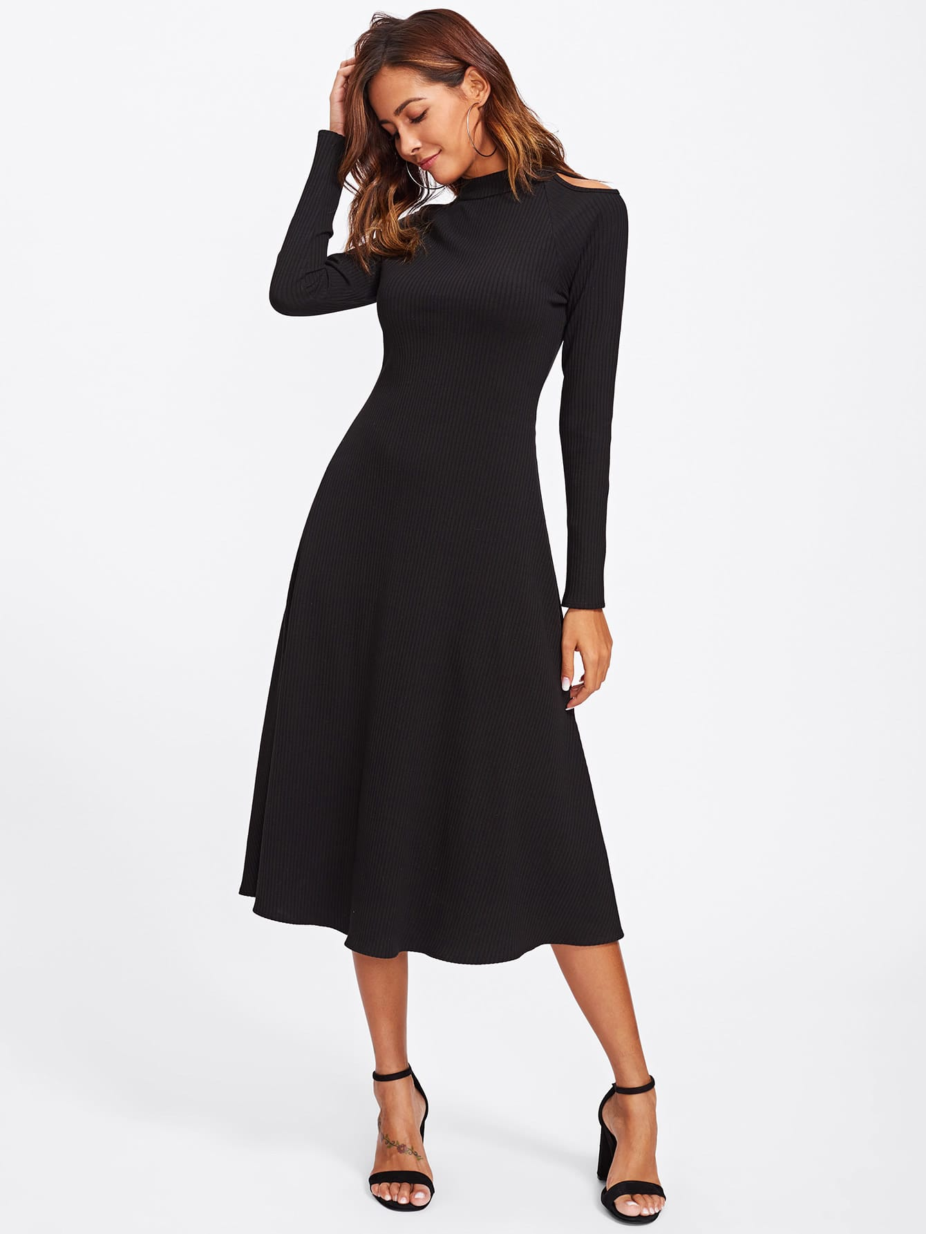Cutout Shoulder Raglan Sleeve Ribbed Dress
