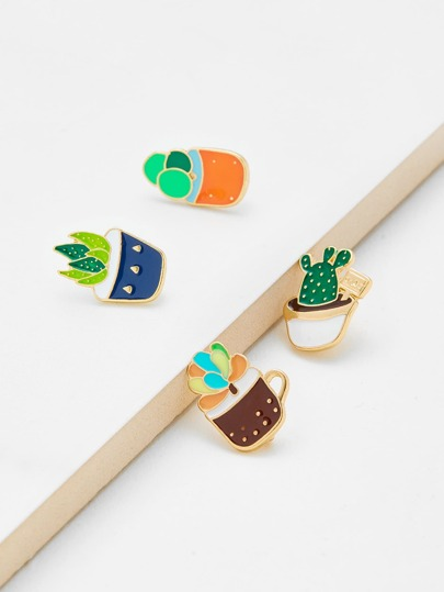 Cute Plant Design Brooch Set