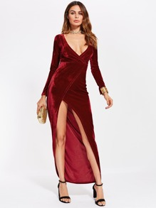 Deep V Neckline High Split Velvet Dress