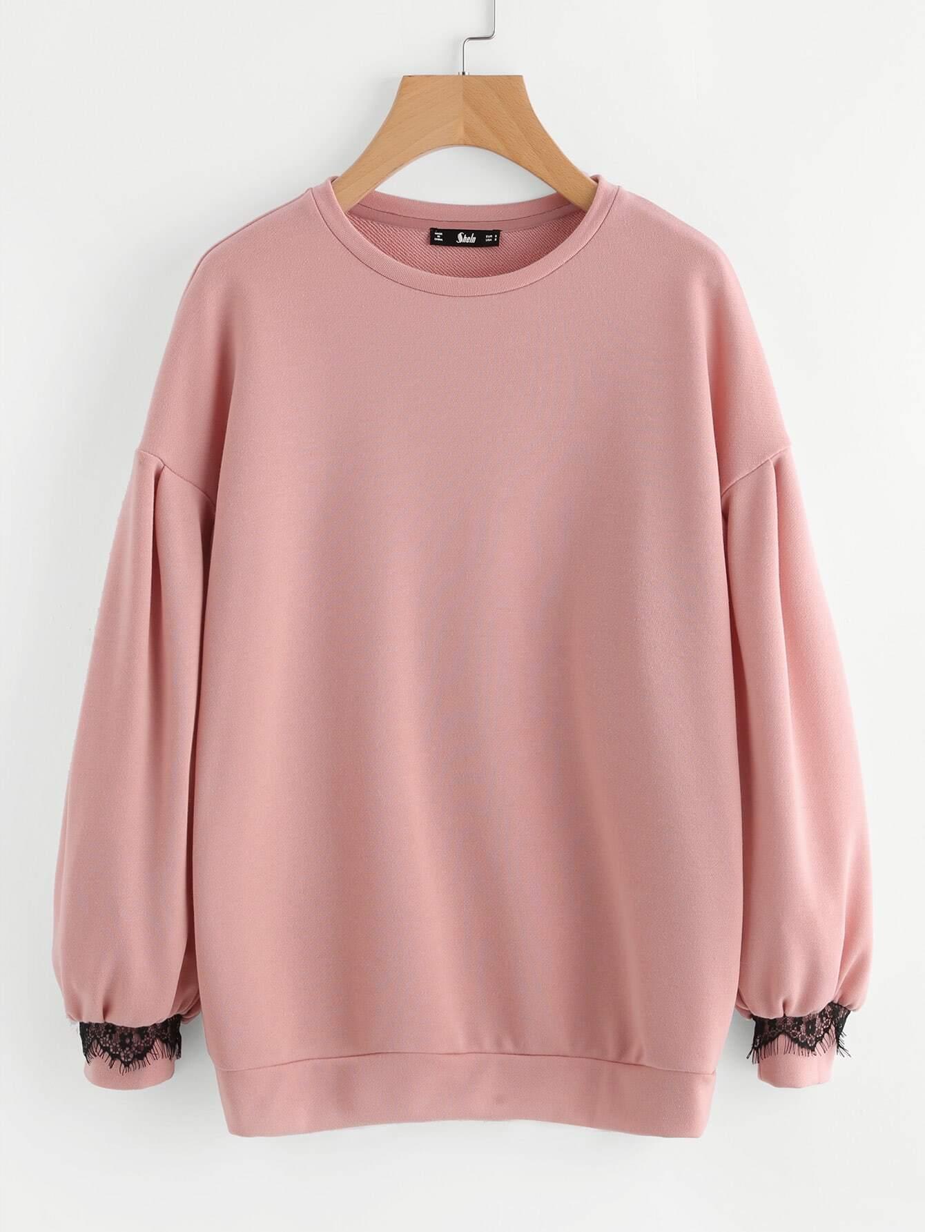 Drop Shoulder Lace Trim Bishop Sleeve Sweatshirt