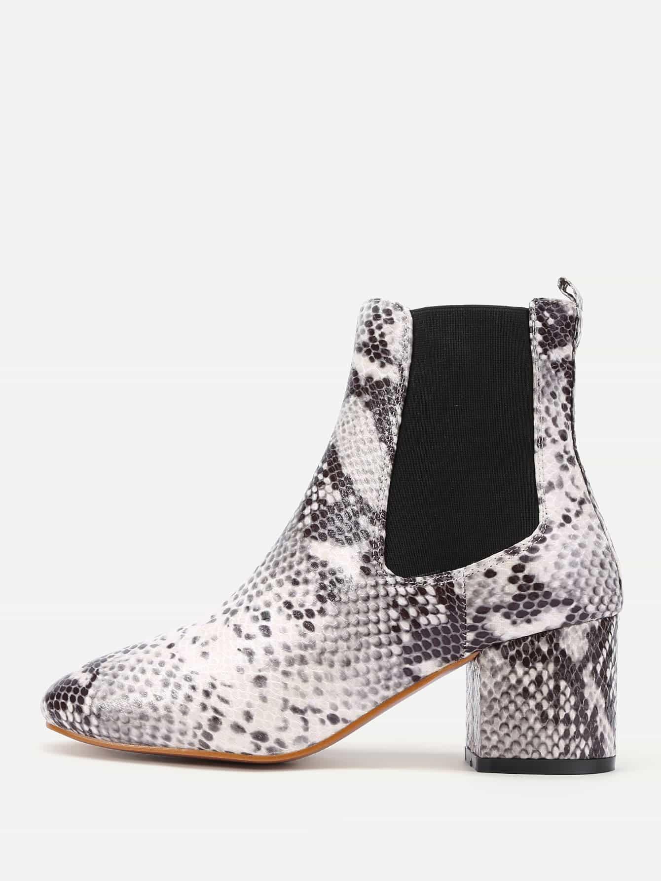 Snakeskin Print Elastic Ankle Boots
