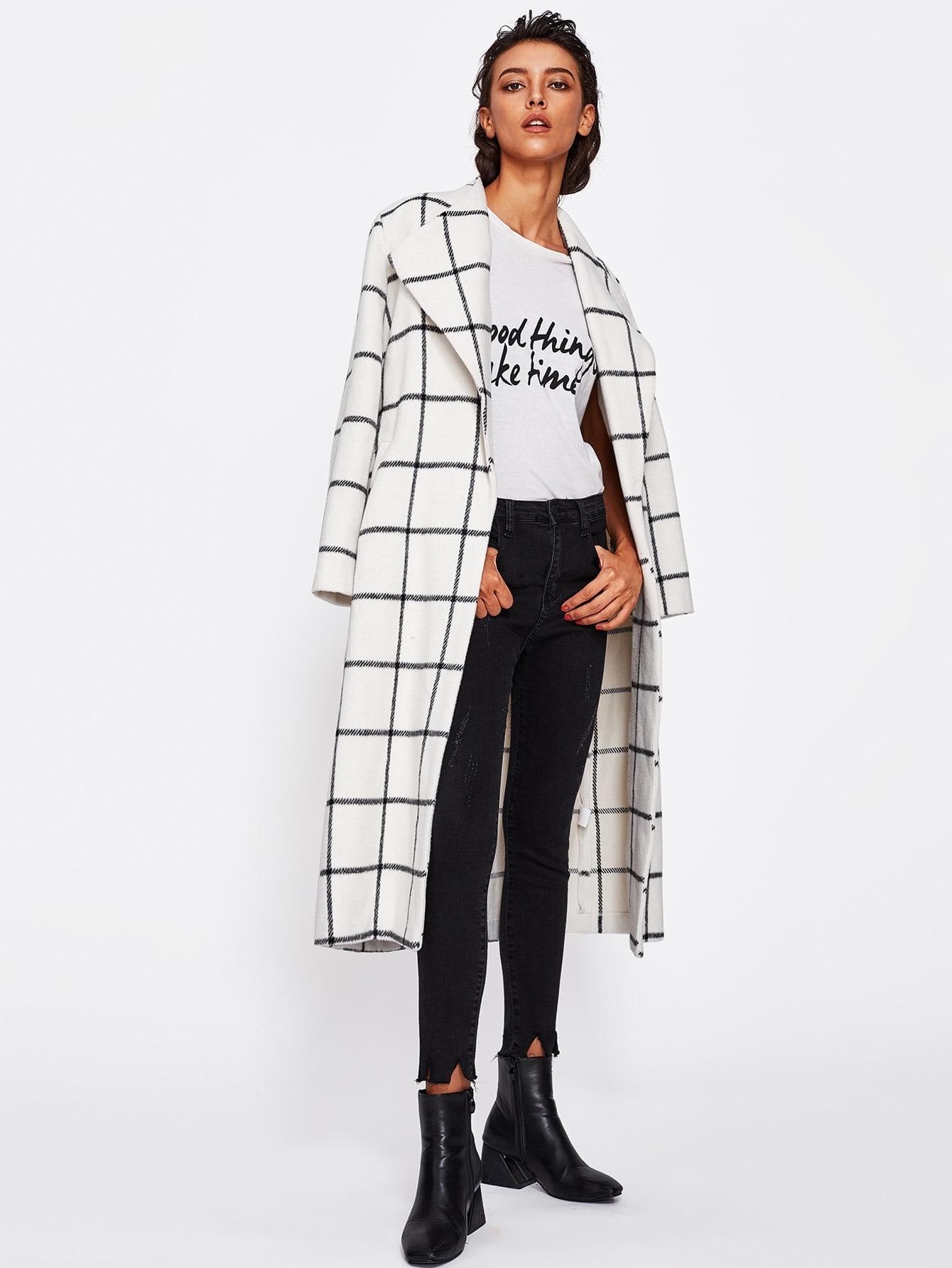 Image of Drape Collar Grid Longline Coat