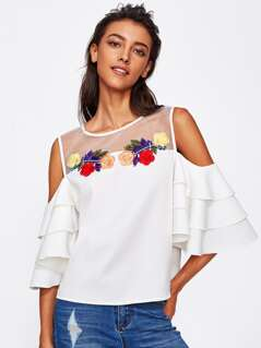 Illusion Neck Flower Embroidered Layered Sleeve Top