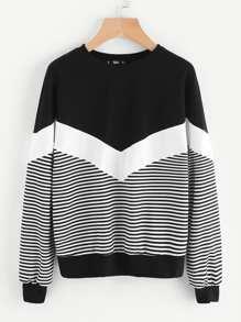 Cut And Sew Chevron Sweatshirt