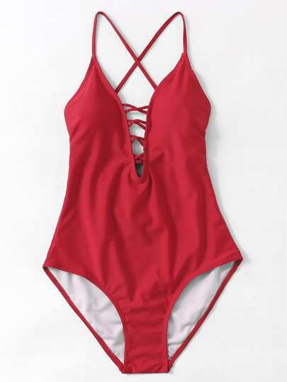 Criss Cross Plunge Neckline Open Back Swimsuit