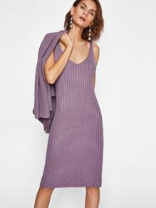Slit Back Ribbed Cami Knitted Dress With Cardigan