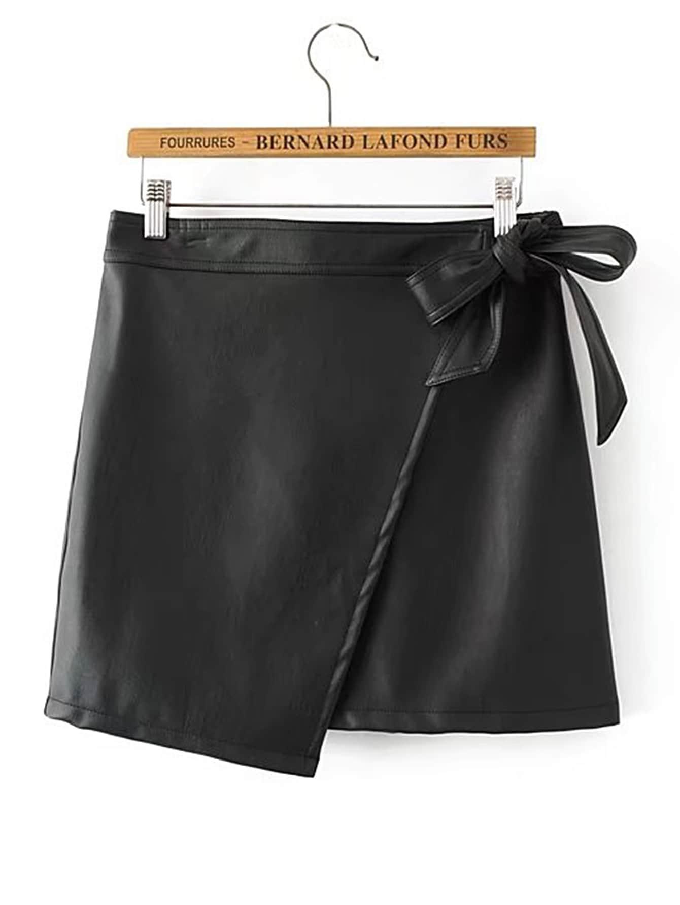 Self Tie Asymmetrical PU Skirt