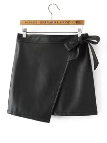 Self Tie Asymmetrical PU Skirt