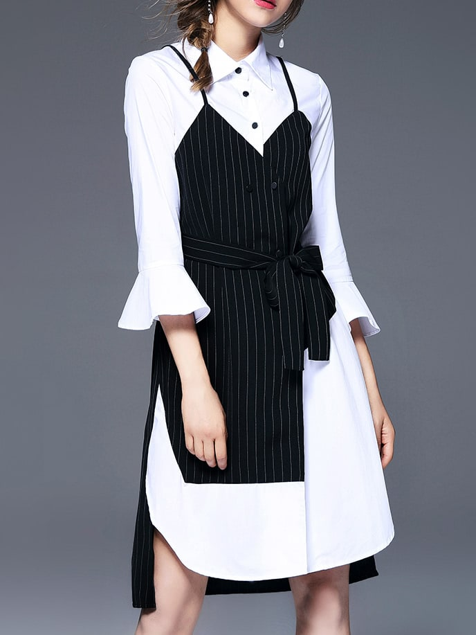 Image of Bell Sleeve Color Block Shirt Dress