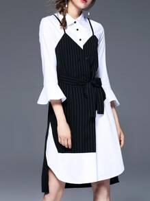 Bell Sleeve Color Block Shirt Dress