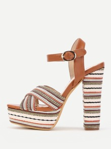 Cross Strap Block Heeled Sandals