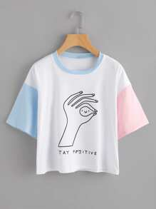 Contrast Sleeve Hand Print Tee