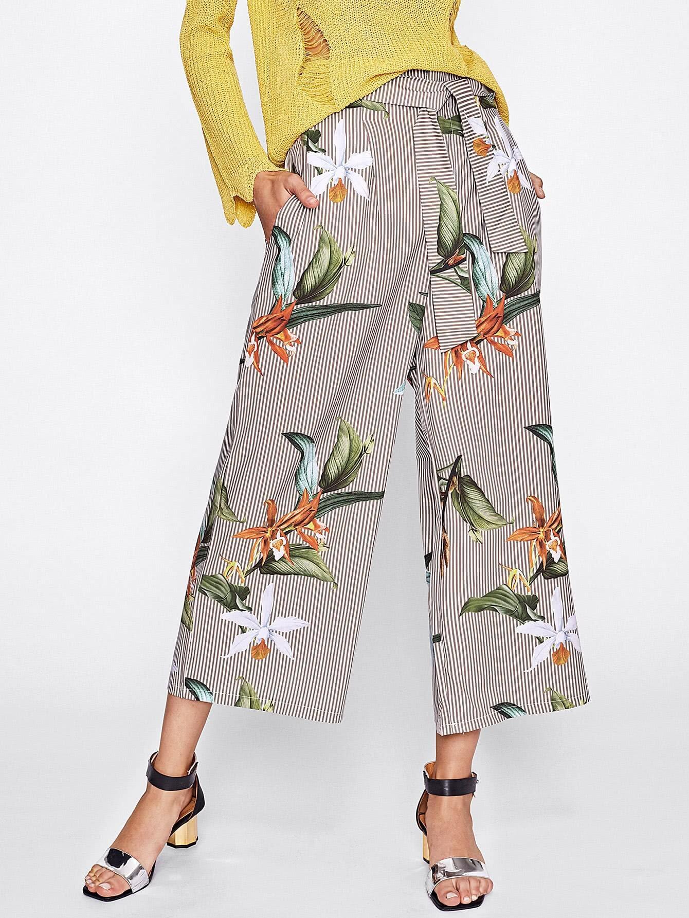 Buy Floral Print Tie Waist Wide Leg Pants
