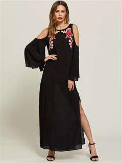 Symmetrical Embroidery Patch Bell Sleeve Slit Side Dress