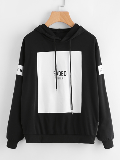 Letter Print Patch Hooded Sweatshirt