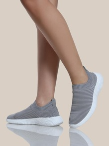 Textured Fly Knit Sneakers LIGHT GREY