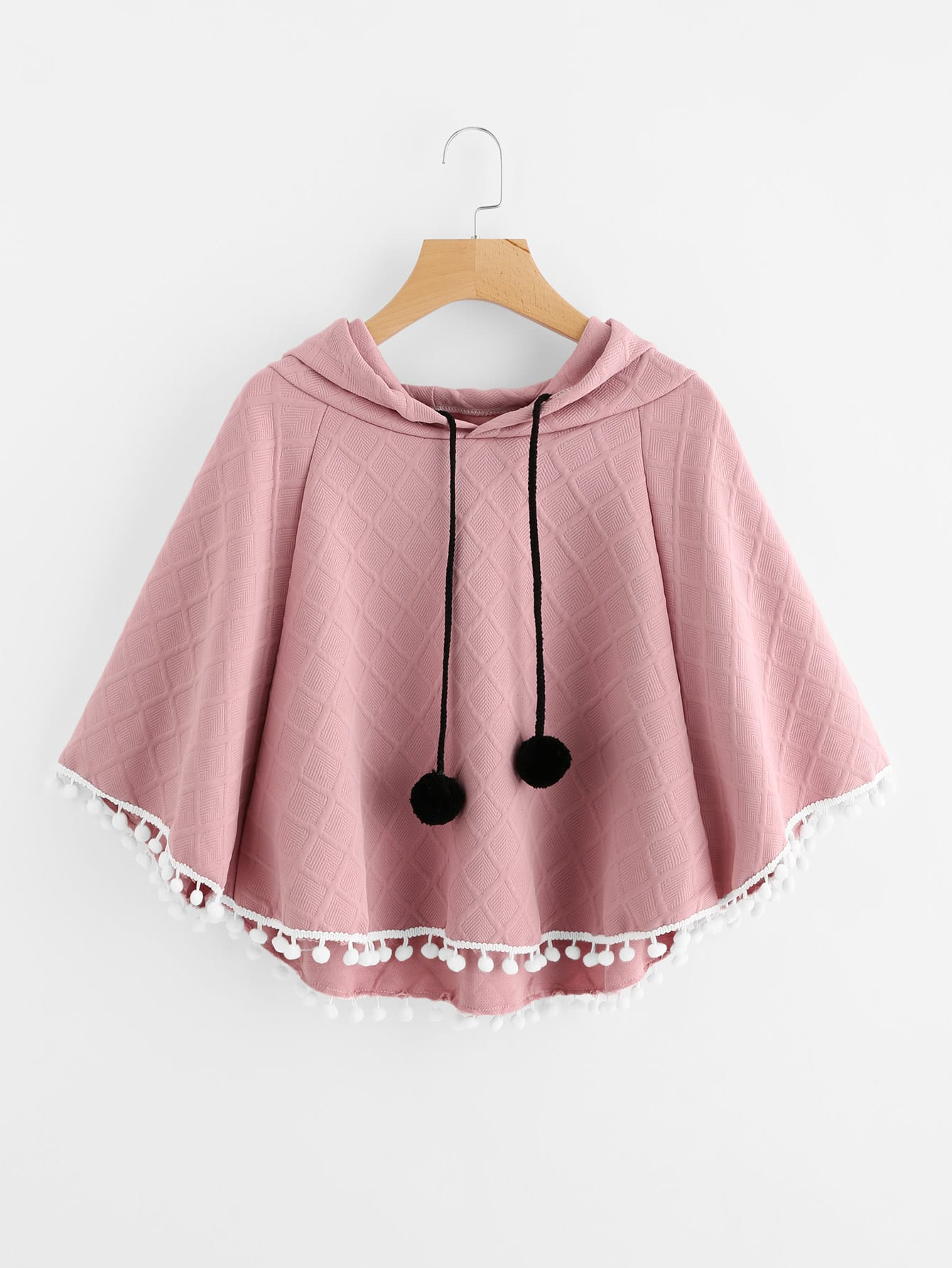 Pom Pom Trim Embossed Cape Hooded Top open shoulder pom pom trim top