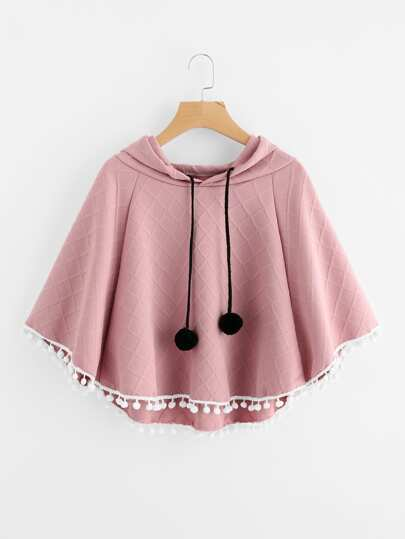 Pom Pom Trim Embossed Cape Hooded Top