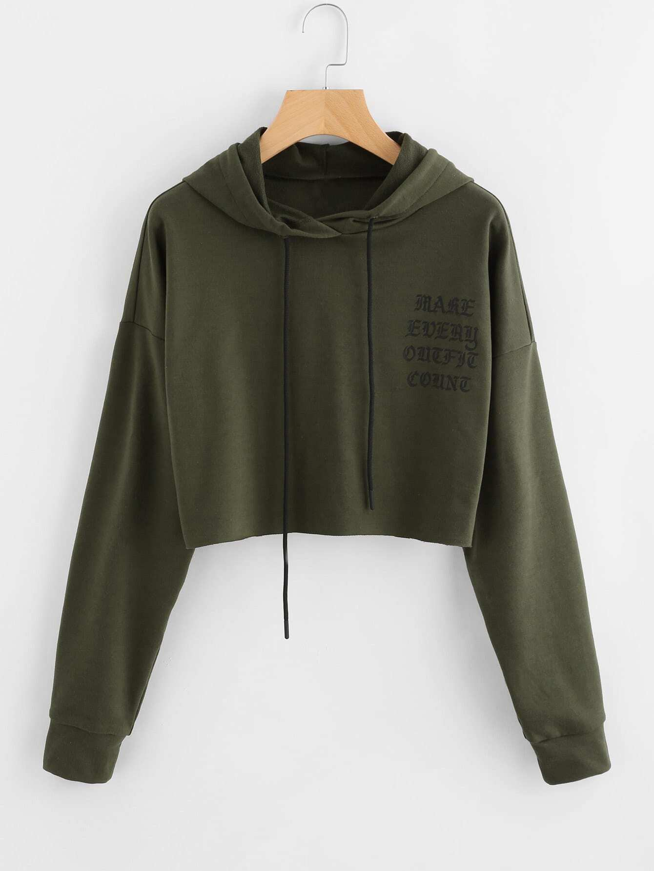 Drop Shoulder Raw Cut Hem Crop Hoodie drop shoulder water color crop sweatshirt