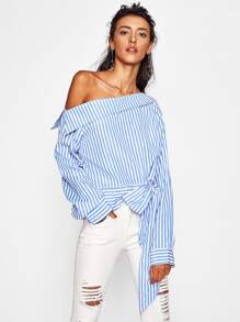 Collared Asymmetric Shoulder Bow Tie Hem Blouse