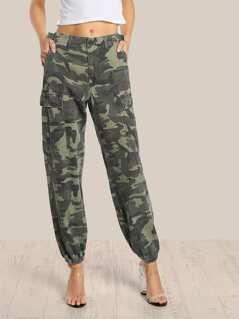 High Rise Camo Cargo Pants CAMOFLAUGE