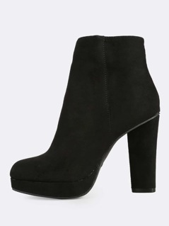 Zip Up Ankle Heel Booties BLACK