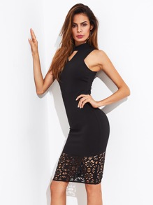 Keyhole Neck Laser Cut Hem Dress