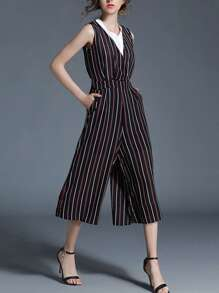 Multi-Stripe V Neckline Culotte Jumpsuit