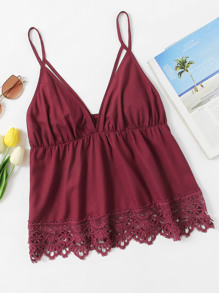 Scallop Lace Trim Strappy Plunge Cami Top