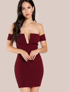Bardot Sleeve Frayed Hem Bodycon Dress BURGUNDY