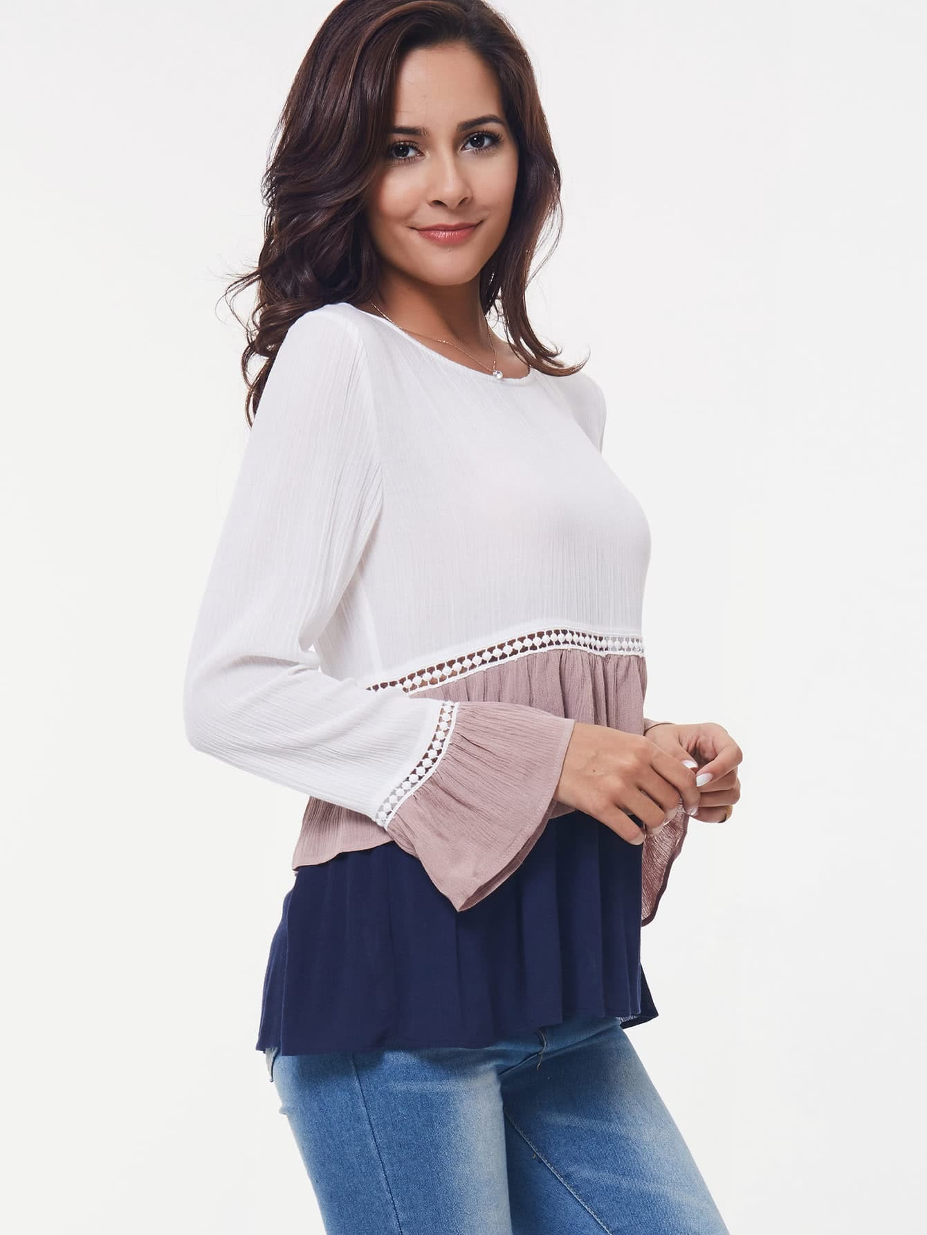 Crochet Panel Tiered Frill Hem Blouse